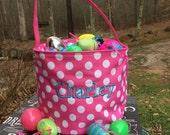 Hot Pink Polka Dot Easter Bucket with personalization.  Easter Tote.  Monogrammed Easter basket.
