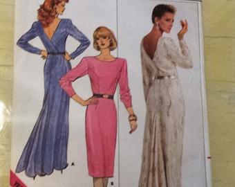 Misses Dress  Butterick 4200 Vintage 1980s Sewing Pattern Size 8-10-12 Uncut