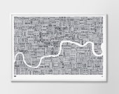 Large Format London Type Map Limited Edition, London Type Map, London Wall Art, London Wall Poster, London Map Poster, London Word Map