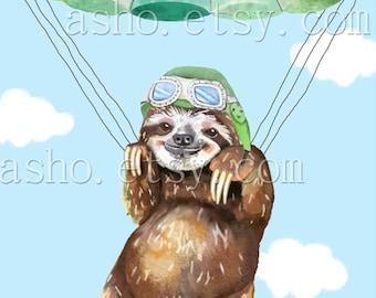Parachute Sloth Print Cool Nerd Wearing Glasses Sloth Watercolor Painting Unframed Animal Art Print, chute,Flying Sloth,Sloth print,nursery