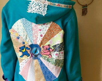 Grateful Dead Steal Your Face Mandala Upcycled Patchwork Zip Up Sweater Hoodie Jacket Sweatshirt Festival Women OOAK Size Medium/Large