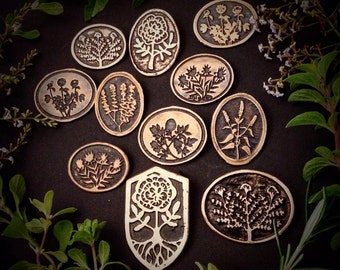 Herb Pendants - Etched Copper  - handmade from copper in my studio - Pick one - by Jamie Spinello - handmade in Austin, Tx