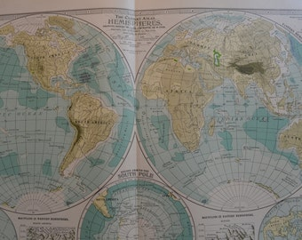 1899 Map World - Vintage Antique Map Great for Framing 100 Years Old