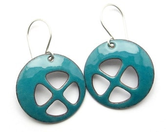 Teal Earings - Teal Enamel Earrings - Modern Earrings - Teal Dangle Earrings - Modern Enamel Jewelry