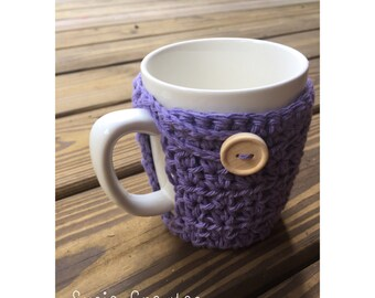 Crochet Mug Cozy - lavender