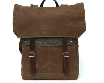 Tall Boy Waxed Canvas Backpack w/ Padded Straps / Grey Herringbone Recycled Wool