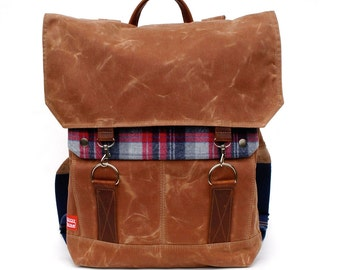 Tall Boy Waxed Canvas Backpack with Padded Straps / American Lumberjack Vintage Wool & Oiled Leather READY TO SHIP