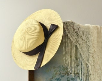 Weekend in Provence hat | vintage 1930s hat | wide brim 30s straw hat