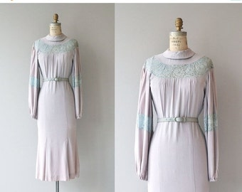 25% OFF.... Blythe lace & silk crepe dress | vintage 1930s dress | crepe 30s dress