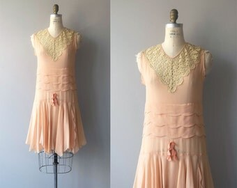 A Little Paris silk dress | vintage 1920s silk dress | chiffon and lace 20s dress
