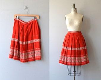 Many Bells Up skirt | vintage 1950s skirt | folk wool 50s skirt