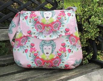 Tula Pink Shoulder Bag , Boho Shoulder Bag, Pink Floral Purse