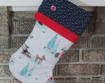 Personalized Christmas Stocking , Blue And White Christmas Stocking , Quilted Stocking