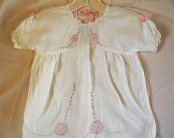 Vintage baby or doll dress, white, lace, ribbons, embroidery, cotton, 1950s 1960s