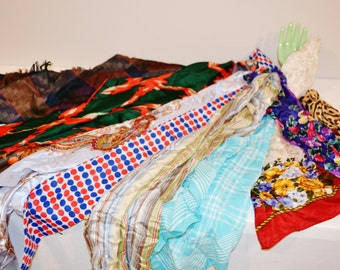 Four Season of Vintage Scarves.....Set of Ten
