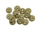 Set of 14 Smooth Round Plastic 2-Holed Buttons - The Simplest Solid Olive Brown (10mm)