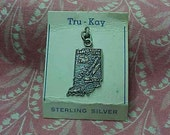 Vintage Sterling Indiana State Map Travel Charm