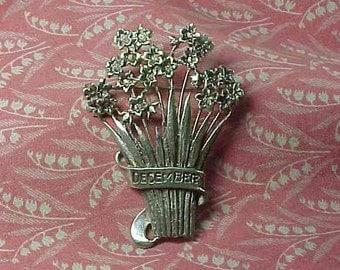Vintage Sterling December Flower Bouquet Brooch pin