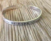Personalized hand stamped cuff bracelet aluminum- Stacking  handmade custom coordinates gift for her girlfriend Christmas gift 1/4 inch