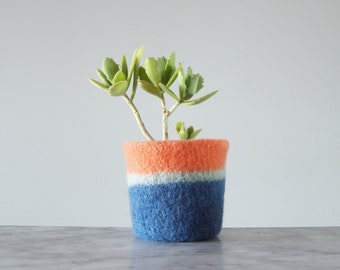 felted succulent planter - small plant pot with waterproof lining - textural planter - shades of coral orange , pale mint, and blue -spring