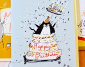 Funny Birthday Cat Cards - Mixed Set of 4