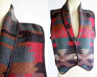 Vintage Aztec Inspired Lightweight Unisex Retro 90's Button Down Southwest  Alps Fine Woman's Apparel Vest