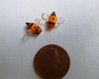 Tiny glass bee beads (2), handmade lampwork bead pair, extra small lampwork beads, lampwork earring pair made to order