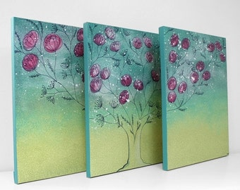 ON SALE Teen Girl Bedroom Wall Art - Flowering Tree Painting Canvas Triptych - Large 50x20