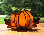 Autumn Harvest Stained Glass Tea Light Holder no. 2 Stained Glass Pumpkin Fall Candle Holder Halloween Candle Holder Pumpkin Tealight Holder