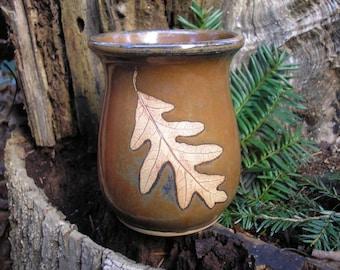 White Oak Leaf Mug / Coffee Mug / Tea Mug /  14 Ounce Mug / warm brown glaze,coffee mug, tea mug,favorite mug