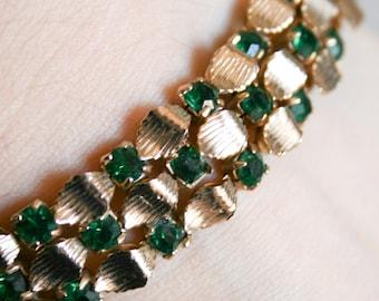 Signed LERU Green Rhinestone Bracelet