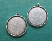 20 Double Sided / Reversible Pendant Trays 1 Inch Round Antique Silver 25mm