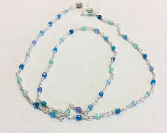 Sea Spray Blue Czech Crystal Wire Wrapped Eyeglass Chain - Lanyard - Leash