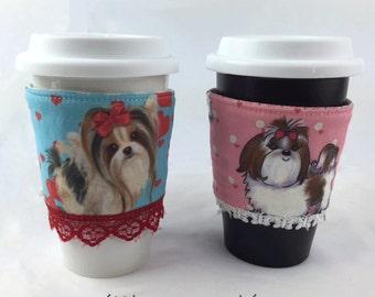 Coffee Cup Sleeves, Cooffee Cup Cozies, Dog Breeds,  Biewer Yorkie, Shih Tzu