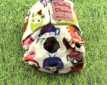 XS Dog Diapers Dressed Owls on grey Flannel