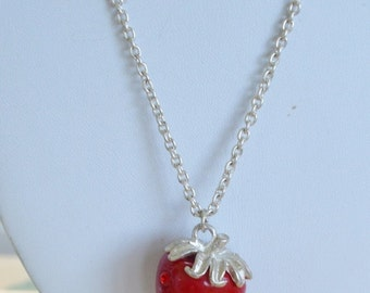 "On sale Pretty Vintage Red Rhinestone Strawberry Pendant Necklace, Silver tone, 31"" (AL14)"