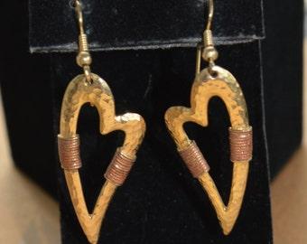 Pretty Vintage Gold tone, Copper tone Heart Pierced Earrings (AK12)