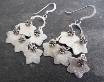Sterling Silver Floral Chandelier Earrings