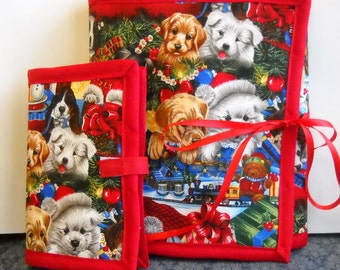 Holiday Pups Sewing Caddy, Needle Book, Hand Sewing Organizers