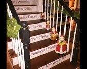 Sale -The Twelve Days of Christmas Vinyl Decals - Christmas Decals for Stairs - 12 Days of Christmas - Holiday Decor