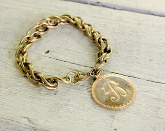 "Letter ""B"" Initial Bracelet Monogram 1960s Vintage Gold Tone Charm Bracelet"