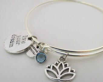 Silver Bangle with Charms, Adjustable Bangle, Lotus Bangle with Birthstone,Friendship Bracelet, Birthstone Bracelet, Expandable Charm Bangle