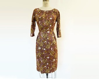 1960s Wiggle Dress Vintage 60s Dress Mustard Brown Shift 60s Fall Day Dress Brown Floral Dress 1960s Vintage Dress 60s Wiggle Dress m
