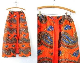 Boho midi skirt Vintage Paisley Bohemian Open skirt Hippie Festival skirt Quilted Wrap Lounge Skirt Gypsy skirt Orange Abstract skirt Medium