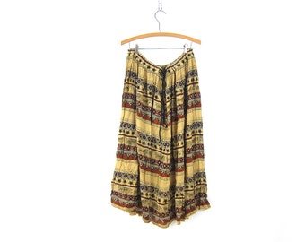 Hippie Skirt Tan Birds and Stars Print Skirt Boho Tribal Gypsy Maxi Bali Skirt Drawstring Summer skirt Womens size Medium Large