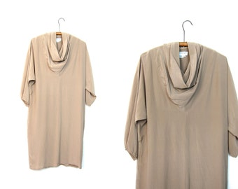 Minimal Beige Silk Dress 80s Loose Fit Draped Brown Silk Mini Dress Cowl Neck Slip Over Slip Dress Long Sleeve Modern Silk Minidress Medium