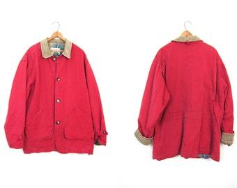 Vintage Reddish Pink Barn Coat 90s Mens Womens Chore Jacket Ranch Coat Oversized Fall Trench Coat Large Pockets Men's Size Medium