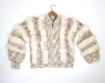 Super CHUNKY Knit Sweater Coat 80s Giant Knit Sweater Jacket FRINGED White Pink Woolen Bomber Coat Chunky Sweater Bomber Pockets LARGE