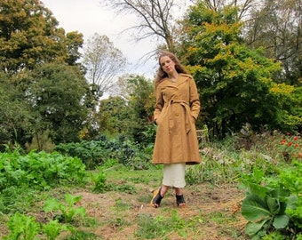 60s Trench Coat Camel Brown Button Up Belted Jacket Vintage Spring Fall Preppy Mod Trench Jacket with Pockets Womens Small