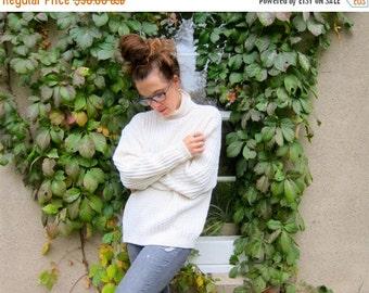 Chunky White Cotton Turtleneck Oversized Textured Knit Sweater Womens Fisherman Sweater Preppy Minimal Boho Jumper Top Medium Large